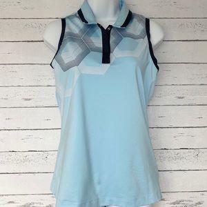 Adidas Climacool Blue Athletic Sleeveless Polo Top